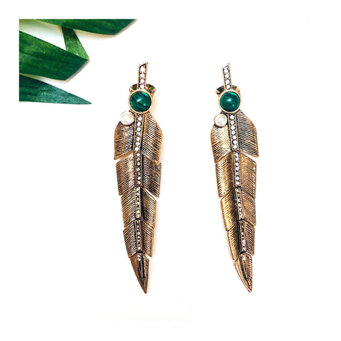 Gold Rhinestone Feather Earrings with Emerald Green Natural Stone Accent