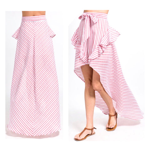 Coral Stripe High Low Ruffle Maxi Skirt with Tie Waist