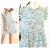 White & Kelly Green Spots Flutter Sleeve Ruffle Neck Dress with Keyhole Back
