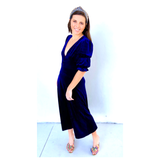 Midnight Blue Velvet Ruffle Sleeve Maxi Dress with Button Front & Banded Waist