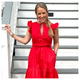 Red Flutter Sleeve Button Down Midi Dress with Tiered Ruffle Hem, Pockets & Optional Belt Sash