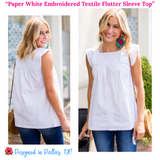 Paper White Embroidered Textile Flutter Sleeve Top
