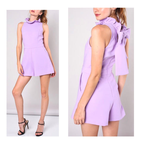 Lavender Ruffle Neck Romper with Bow Back & POCKETS