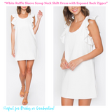 White Ruffle Sleeve Scoop Neck Shift Dress with Exposed Back Zipper