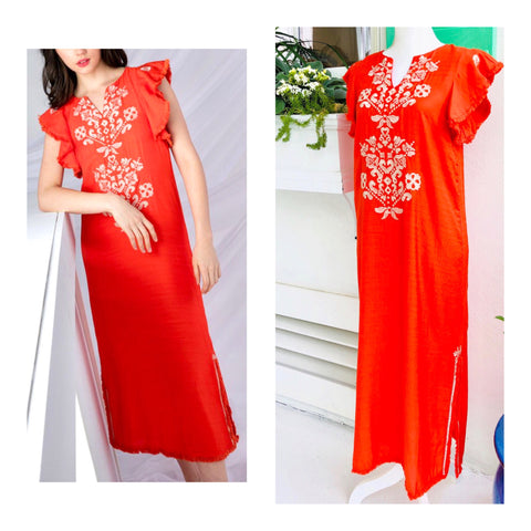 Brightest Coral Orange Embroidered Flutter Sleeve Midi Dress with Fringe Hem & Side Slits