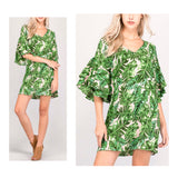 Blush Pink & Green Palm Leaf Tiered Bell Sleeve Shift Dress