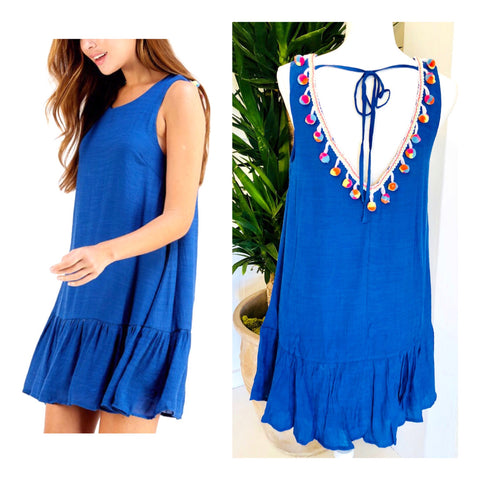 Royal Blue Drop Hem Dress with Open Pom Pom Back