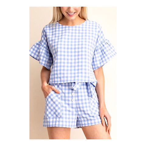 Blue & White Gingham Bell Sleeve Top with Keyhole Back (Shorts sold separately)