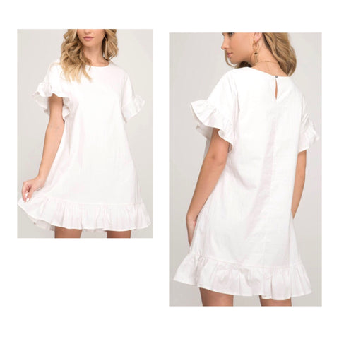 White Textured Short Sleeve Ruffle Hem Dress with Keyhole Back