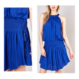 Royal Blue Smocked Drop Waist Halter Dress with Side Lace Up Tassel Tie