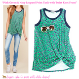 Pink Green & Navy Leopard Print Tank with Twist Knot Front