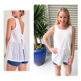 White Scalloped Edge Eyelet Babydoll Cami with Open Bow Back