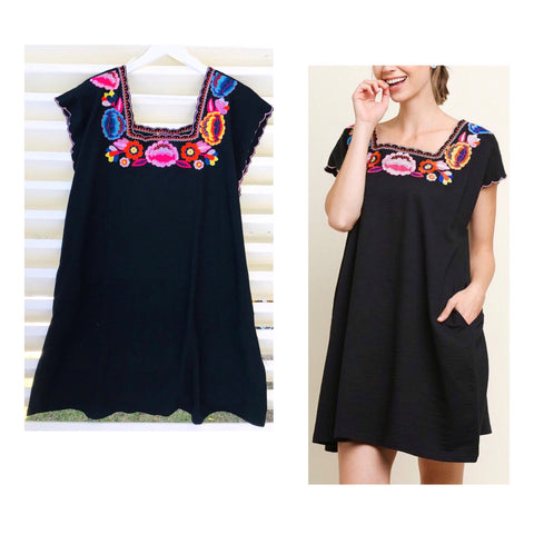 Black Embroidered Shift Dress with Scalloped Sleeves & POCKETS