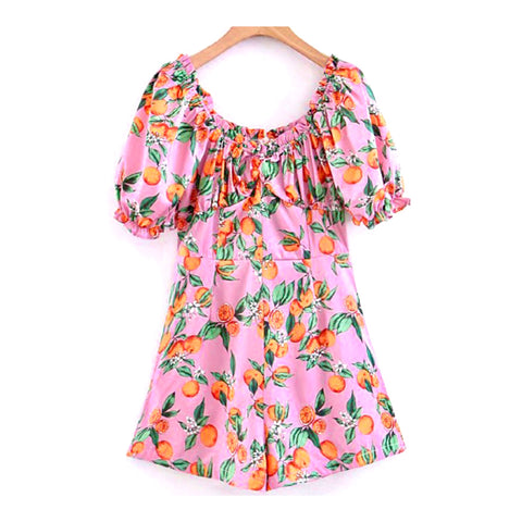 Pink Orange Print Romper with Banded Waist