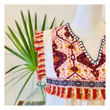 Natural Embroidered Boho Top with Orange & Contrast Tassel Trim