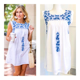 White & Cerulean Blue Embroidered Textile Dress with POCKETS