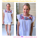 White Embroidered Birds of Paradise Flutter Sleeve Top