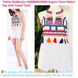 White Multicolor EMBROIDERED Empire Waist Halter Top with Tassel Trim