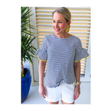 Navy White Stripe Bell Sleeve Knotted Hem Top with Yellow Trim