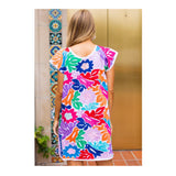 White & Multicolor Birds of Paradise EMBROIDERED Textile Dress