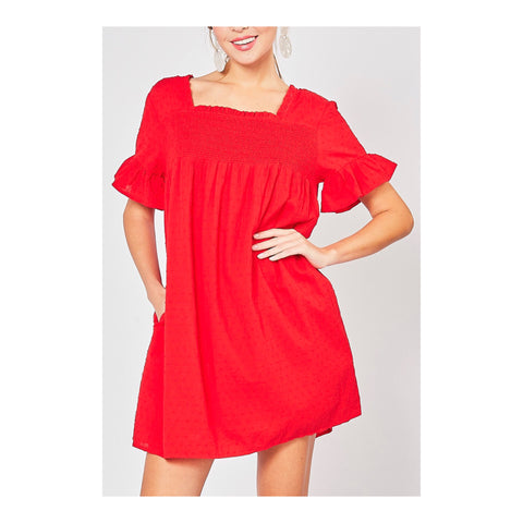 Tomato Red Swiss Dot Babydoll Dress with POCKETS