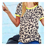 Neon Green & Leopard French Terry Knit Tee