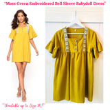 Moss Green Embroidered Bell Sleeve Babydoll Dress