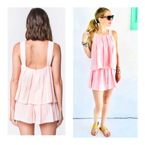 Blush Pink Pleated Square Neck Cami