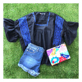 Black & Royal Blue Embroidered Bell Sleeve Peasant Top