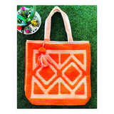 Bright Neon Orange & White HAND LOOMED Textured Oversized Beach or Travel Tote