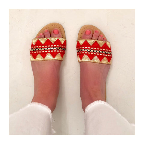 Red Orange Black & Natural METALLIC GOLD Aztec Design Slides