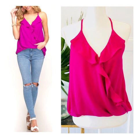 Magenta Ruffle Faux Wrap High Low Halter Cami