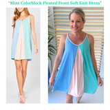 Mint Colorblock Pleated Front Soft Knit Dress