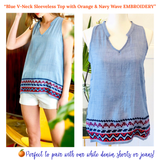 Blue V-Neck Sleeveless Top with Orange & Navy Wave EMBROIDERY