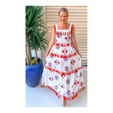White Red Orange Pink & Blue Embroidered Tiered Maxi Dress with Tassels