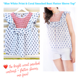 Blue White Print & Coral Smocked Bust Flutter Sleeve Top