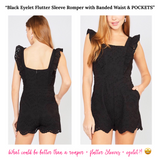 Black Eyelet Flutter Sleeve Romper with Banded Waist & POCKETS