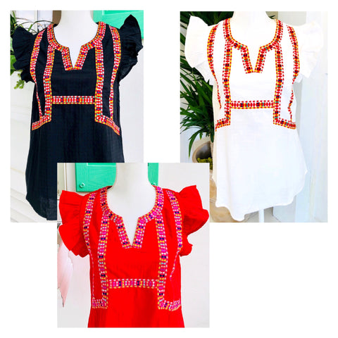 Black White OR Red Embroidered & Textured Flutter Sleeve Top