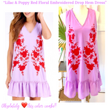 Lilac & Poppy Red Floral Embroidered Ruffle Drop Hem Dress
