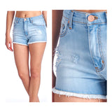 Light Wash Distressed Front High Rise Denim Shorts with Copper Hardware