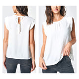 White Pleated Sleeve Blouse with Keyhole Tie Back