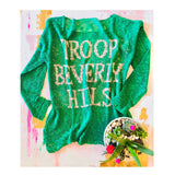 TROOP BEVERLY HILLS Jade Green Open Knit Summer Weight Sweater
