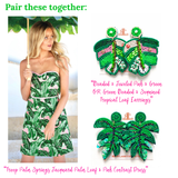 Green Beaded & Sequined Tropical Leaf Earrings