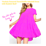 Fuchsia Textured Tiered Ruffle Babydoll Dress with Keyhole Back