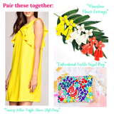 Canary Yellow Ruffle Sleeve Shift Dress with Ruffle Tie Back