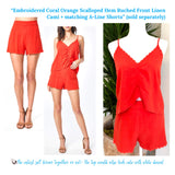 Embroidered Bright Coral & Orange Scalloped Hem A-Line Linen Shorts (matching top sold separately)