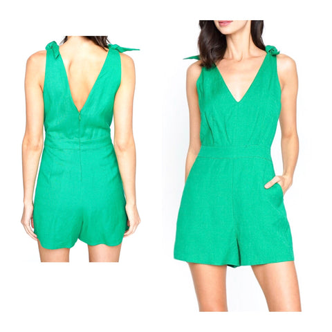 Kelly Green Tie Shoulder Linen Romper with Pockets