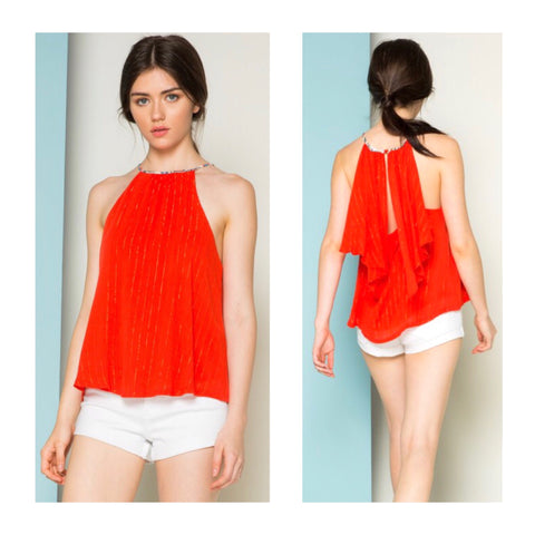 Tomato Red & METALLIC GOLD Pinstripe Halter Top with Open Ruffle Back