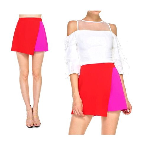 Magenta & Red Colorblock Asymmetrical Hem Skort