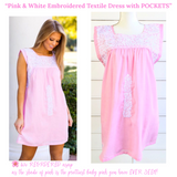 Pink & White Embroidered Textile Dress with POCKETS